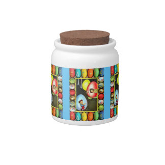 Easter candy Jar, Children and eggs Candy Jar