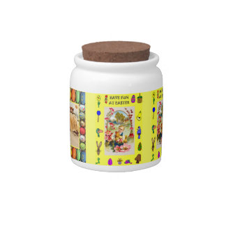 Easter candy Jar, Girl with chickens