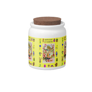 Easter candy Jar, Girl with chickens a