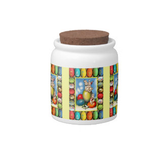 Easter candy Jar, rabbits playing Candy Jars