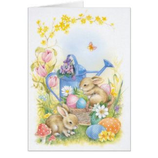 Easter card, bunnies card