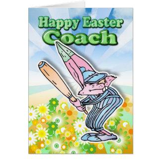 Easter Card - Easter Bunny Baseball Coach