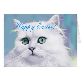 EASTER CARD-HAPPYEASTER-PERSIAN BLUE CAT