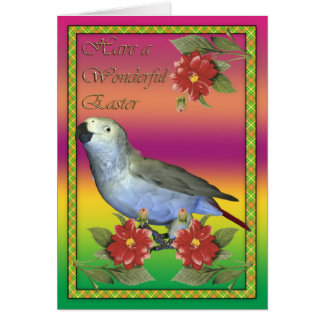 Easter card with African Grey