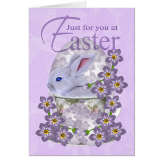 Easter Card With Baby Rabbit - Just For You At Eas