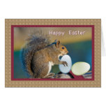 Easter Card With Squirrel And Eggs at Zazzle
