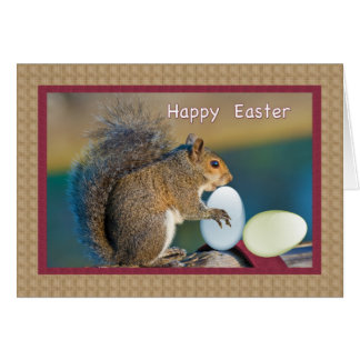 Easter Card with Squirrel and Eggs