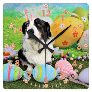 Easter - Cardigan Corgi - Teddy Square Wall Clock