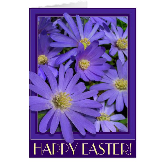 Easter Cards Blue Flowers Custom Greeting Card