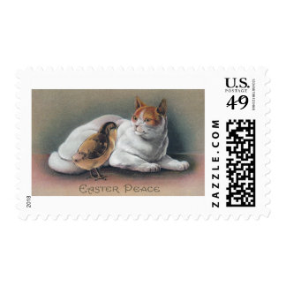 Easter Cat and Chick Postage Stamps