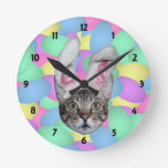 Easter Cat Bunny Ears Round Wallclock