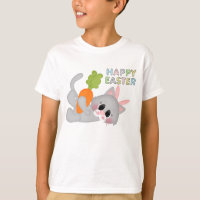 Easter Cat Bunny Holiday kids t-shirt
