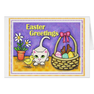 Easter Cat & Chick Greeting Card