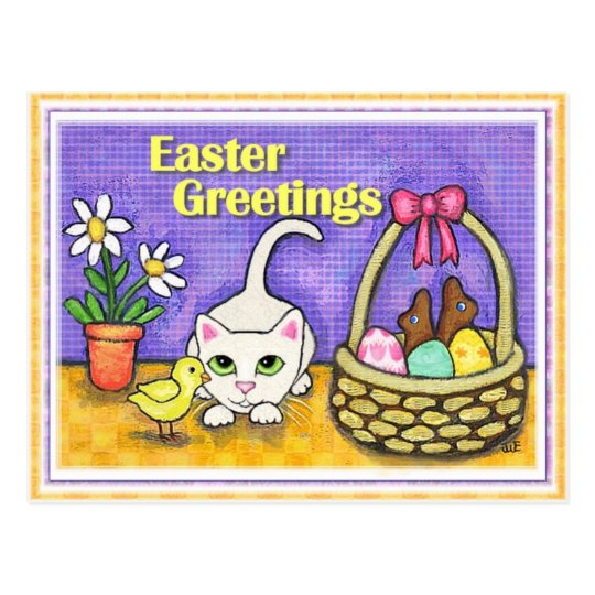Easter Cat & Chick Postcard