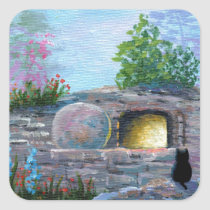Easter Cat Christian Art Empty Tomb Square Sticker