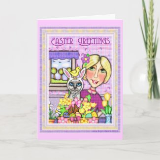 Easter Cat in Basket & Lady Greeting Card card