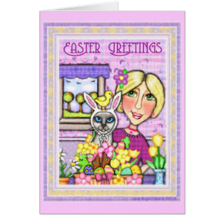 Easter Cat in Basket & Lady Greeting Card
