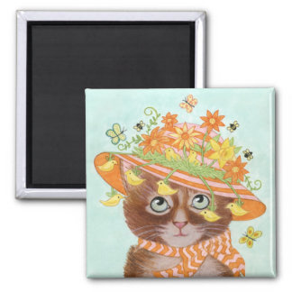Easter Cat in Easter Bonnet with Butterflies 2 Inch Square Magnet