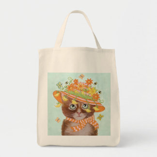 Easter Cat in Easter Bonnet with Butterflies Grocery Tote Bag