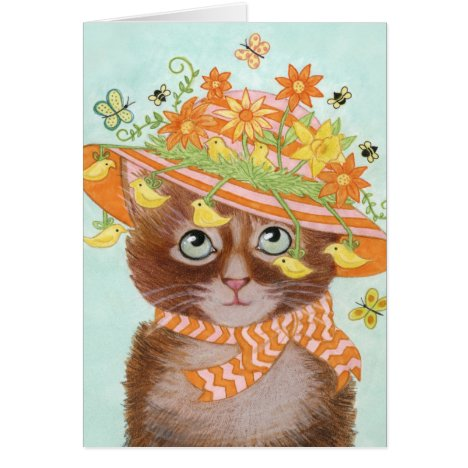 Easter Cat in Easter Bonnet with Butterflies Card