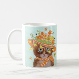 Easter Cat in Easter Bonnet with Butterflies Classic White Coffee Mug