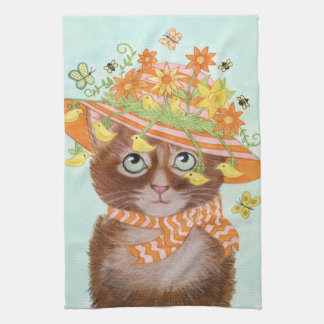 Easter Cat in Easter Bonnet with Butterflies Kitchen Towel