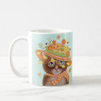Easter Cat in Easter Bonnet with Butterflies Basic White Mug
