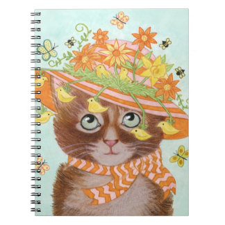 Easter Cat in Easter Bonnet with Butterflies Note Books