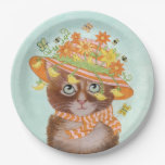 Easter Cat in Easter Bonnet with Butterflies Paper Plate