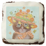Easter Cat in Easter Bonnet with Butterflies Square Brownie