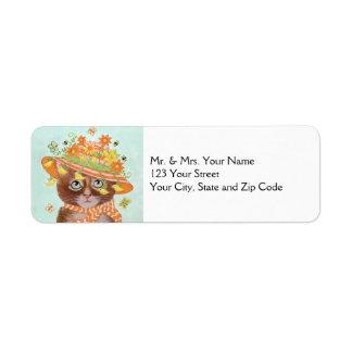 Easter Cat in Easter Bonnet with Butterflies Return Address Label