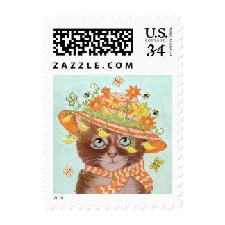 Easter Cat in Easter Bonnet with Butterflies Stamp