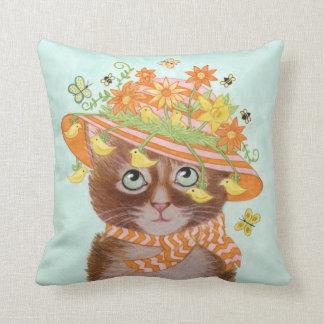 Easter Cat in Easter Bonnet with Butterflies Throw Pillow