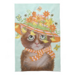 Easter Cat in Easter Bonnet with Butterflies Towels