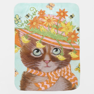 Easter Cat in Easter Bonnet with Butterflies Swaddle Blankets