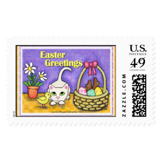 Easter Cat with Chick & Basket Postage Stamps