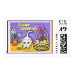 Easter Cat with Chick & Basket Stamps