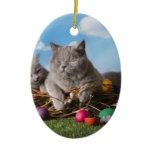 Easter Cats Ceramic Ornament