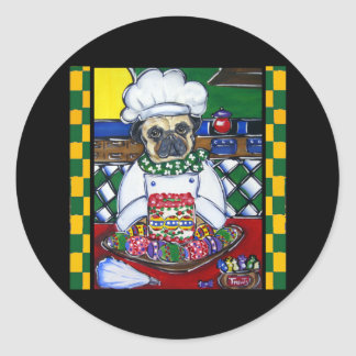 Easter Chef Pug Classic Round Sticker