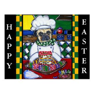 Easter Chef Pug Postcard