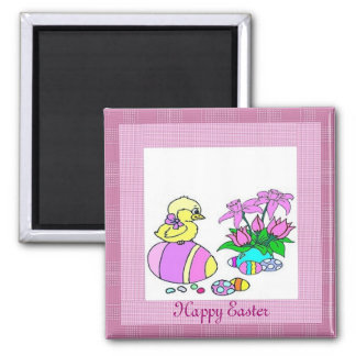 Easter Chick 2 Inch Square Magnet