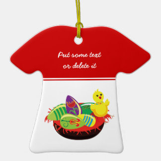 Easter chick and eggs custom ornament