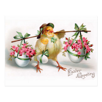 Easter Chick and Flowers Postcard