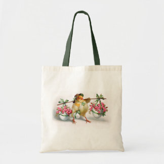 Easter Chick and Flowers Tote Bag