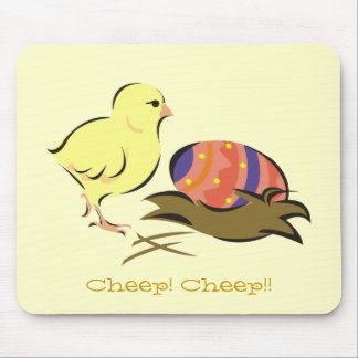 Easter chick and painted egg mouse pad