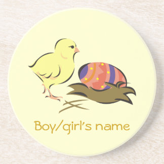 Easter chick and painted egg sandstone coaster