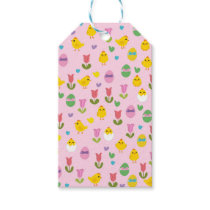 Easter - chick and tulips pattern gift tags