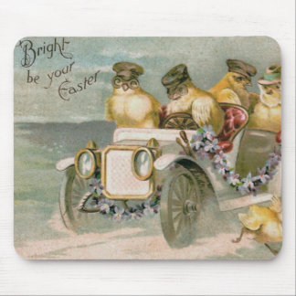 Easter Chick Antique Car Forget-Me-Not Mouse Pad