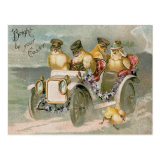 Easter Chick Antique Car Forget-Me-Not Postcard