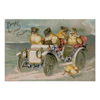 Easter Chick Antique Car Forget-Me-Not Poster